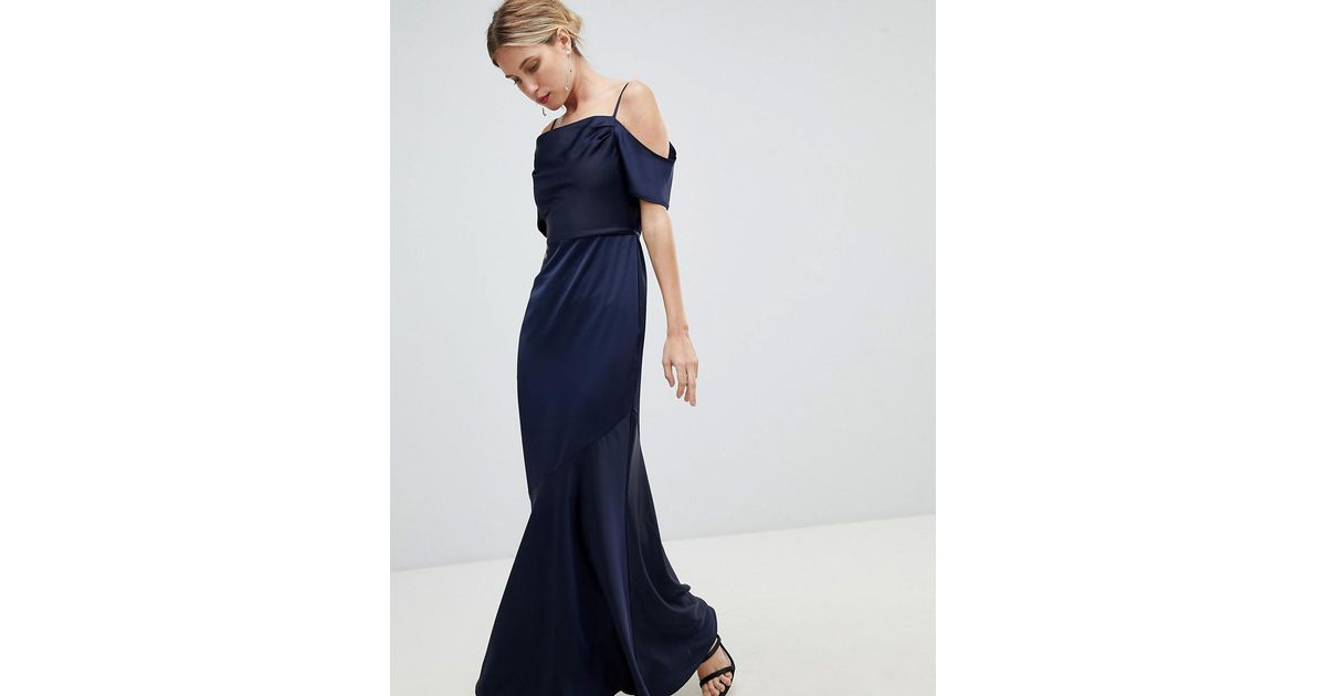 Lyst Oasis Occasion Slinky Cowl Neck Maxi Dress In Blue