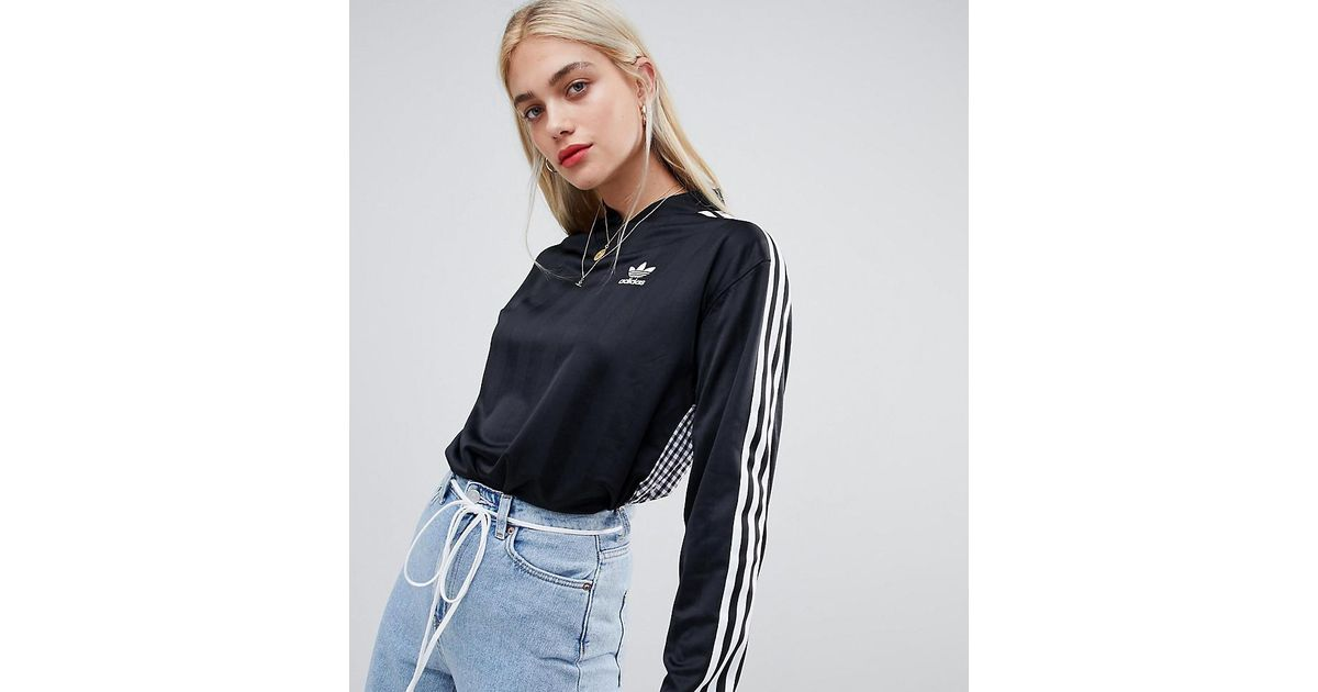 c9307e30ec013d adidas Originals Three Stripe Long Sleeve T-shirt In Black With Gingham  Print Back in Black - Lyst