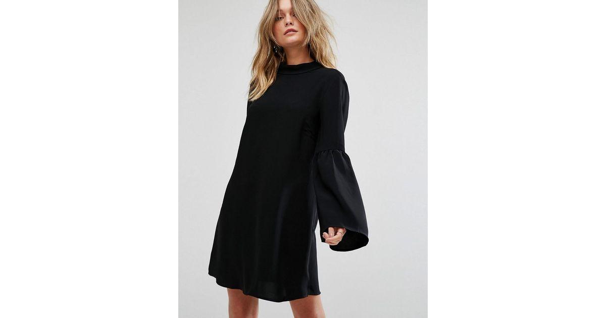 Lyst - Mango Flute Sleeve Dress in Black b0e8ec6d7e