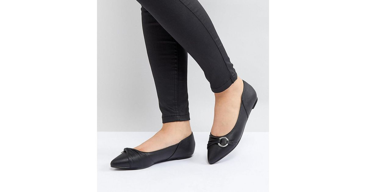 purchase online Lost Ink Black Loop Detail Flat Shoes cheap store sale high quality newest cheap price Wc7O1BG