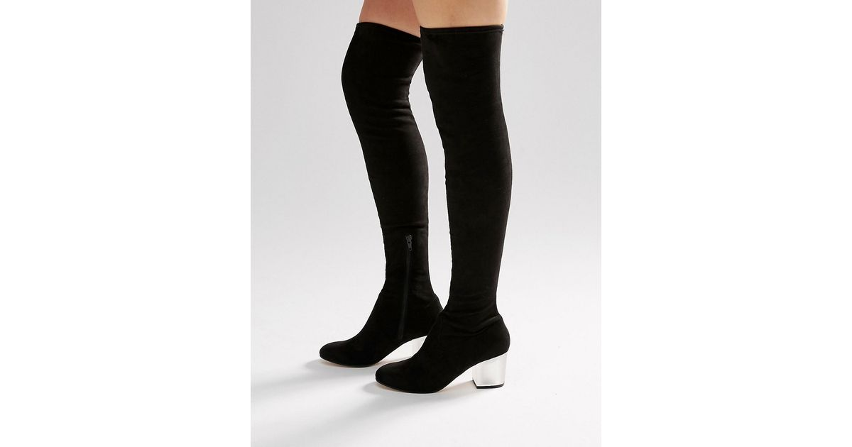 2c3706fe905e Lyst - ASOS Kentucky Clear Heel Over The Knee Sock Boots in Black