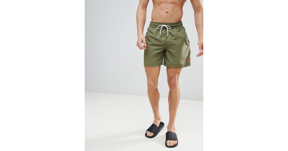 7f96b9d7cf ... reduced polo ralph lauren traveller swim shorts player logo in olive  green in green for men ...
