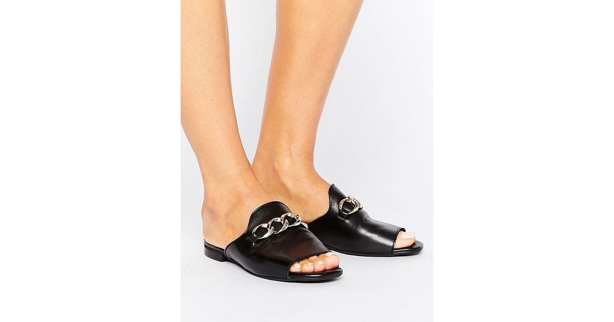 black flat mules open toe