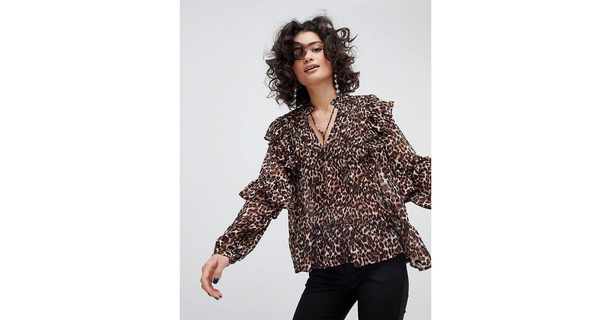 a60593e42cd69d Mango Leopard Print Blouse in Brown - Lyst