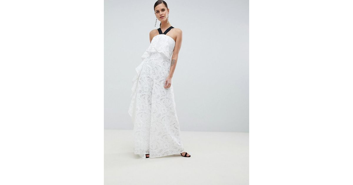 hot-seeling original superior quality san francisco ASOS White Occasion Contrast Lace Jumpsuit With Waterfall Side