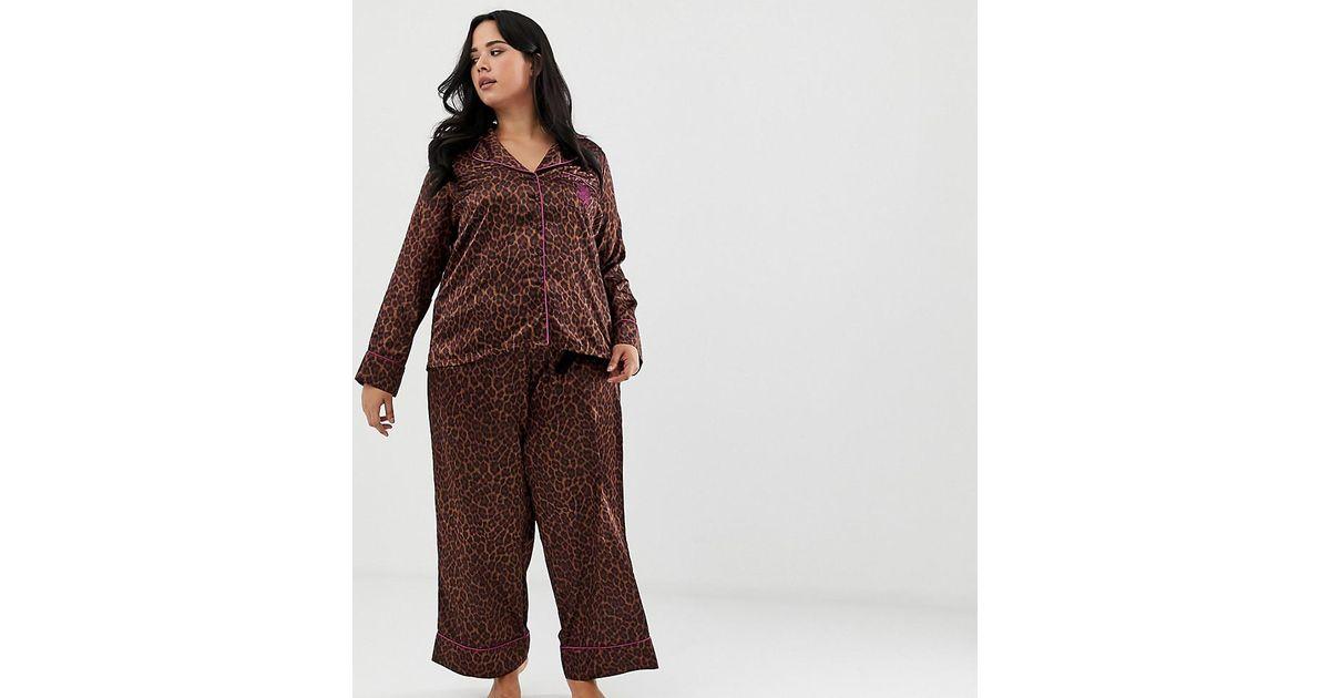 Womens Off White Satin Leopard Pyjama Ladies Animal Print Trousers PJ/'S Nightwea