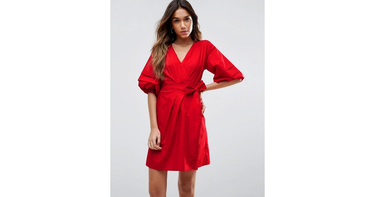 dbc21750c1b Lyst - ASOS Wrap Dress In Cotton With Hitched Sleeves in Red