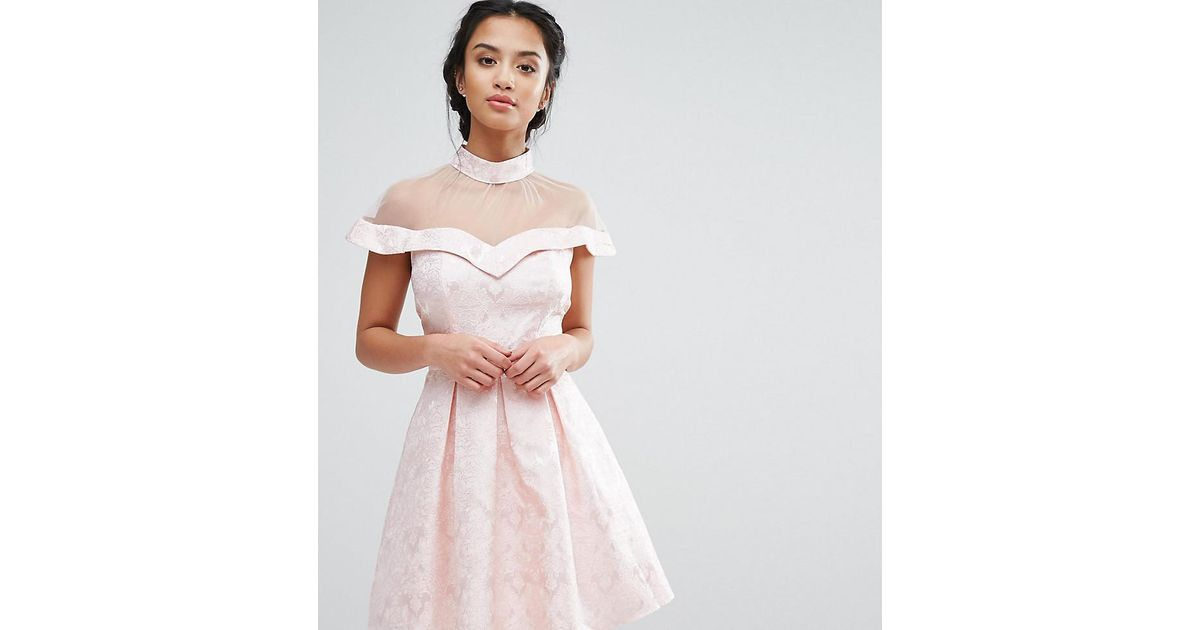 f71c1a171295 Lyst - Chi Chi London Mesh High Neck Off Shoulder Mini Prom Dress In  Paisley Jacquard in Pink