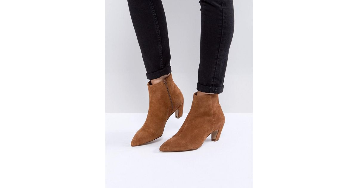 cheap prices get cheap most popular ASOS Reanne Suede Kitten Heeled Boots in Tan (Brown) - Lyst