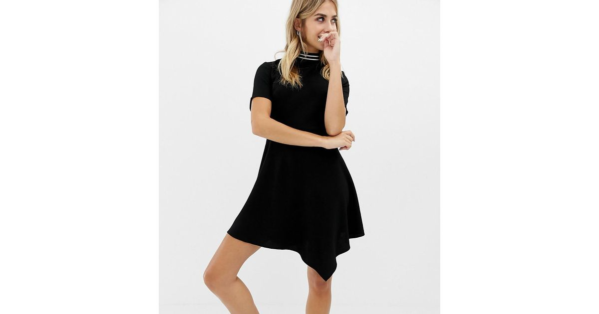 c2d722fce591 Collusion Mini High Neck Skater Dress With Open Back And Sports Tipping in  Black - Lyst