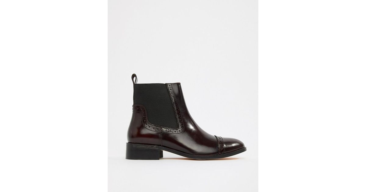 Dune Tyra Leather Chelsea Boots in Red