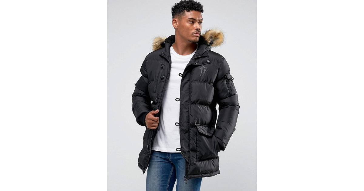 Puffer Parka In Black With Faux Fur Hood - Black The Gym King Wholesale Online V4hj1