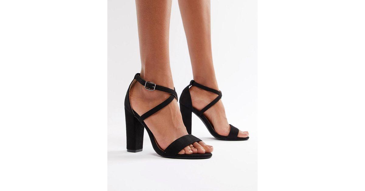 591fb91f3fd Glamorous Cross Strap Block Heeled Sandals In Black in Black - Lyst