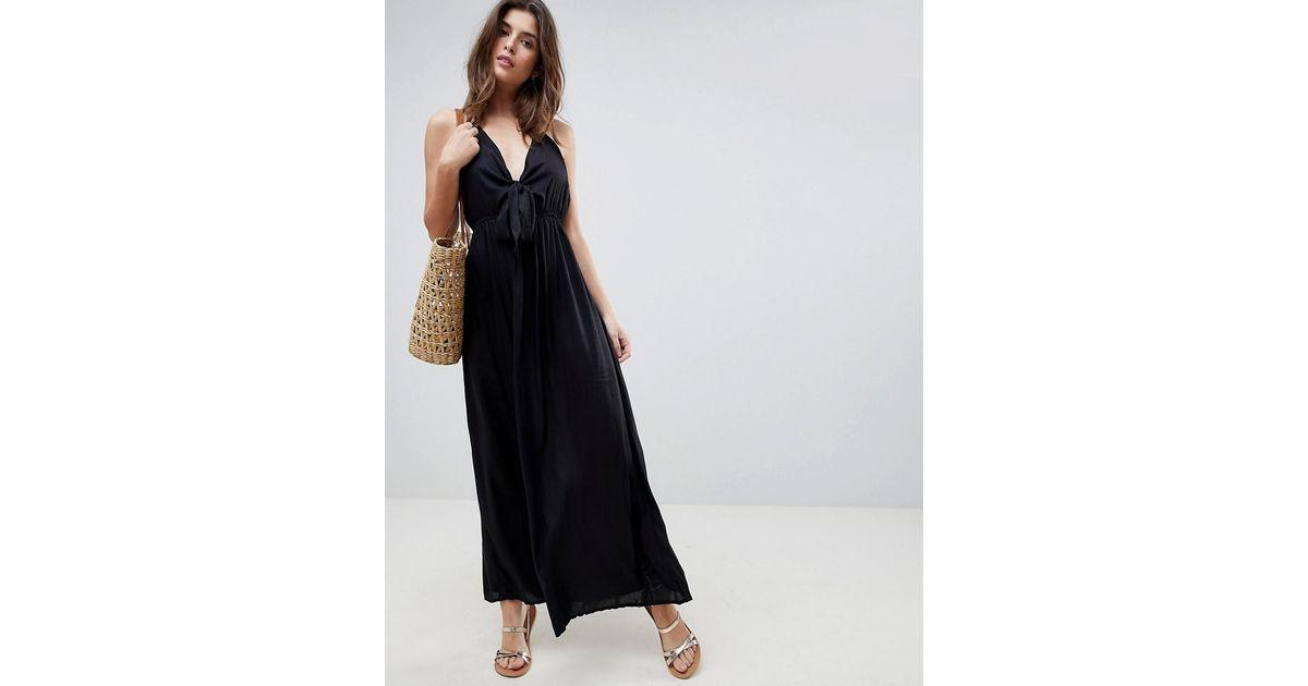 8ca288f26d ASOS Woven Tie Front Maxi Beach Dress in Black - Lyst