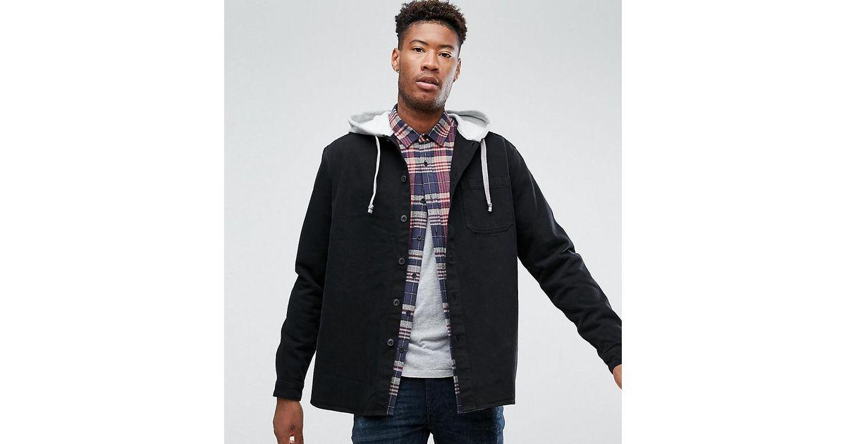 b48e57c4359 ASOS Tall Denim Overshirt With Hood in Black for Men - Lyst