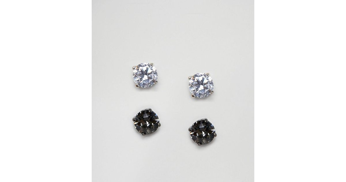 Simon Carter Metallic Clear Black Stud Earrings With Crystals From Swarovski In 2 Pack For Men