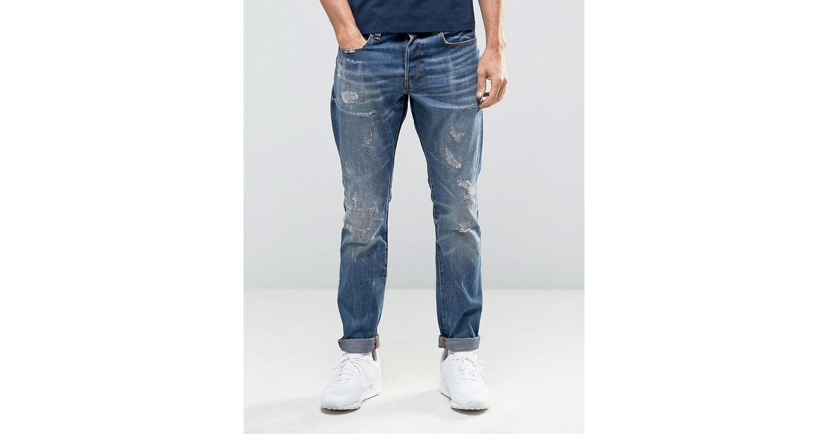 aca0e5f71f4 G-Star RAW 3301 Tapered Jeans Dark Aged Restored Distressed 86 in Blue for  Men - Lyst