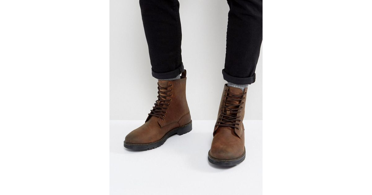 d09a52e359b Stradivarius Lace Up Boots In Brown for men