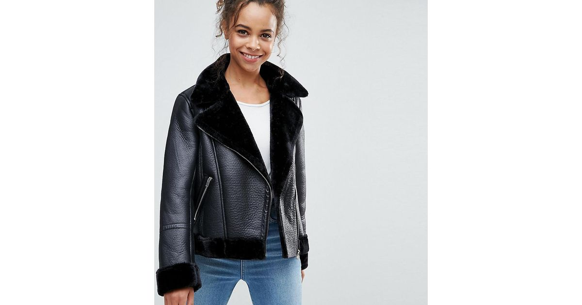 abd4bb986 Miss Selfridge Black Miss Selfridge Petitie Aviator Jacket