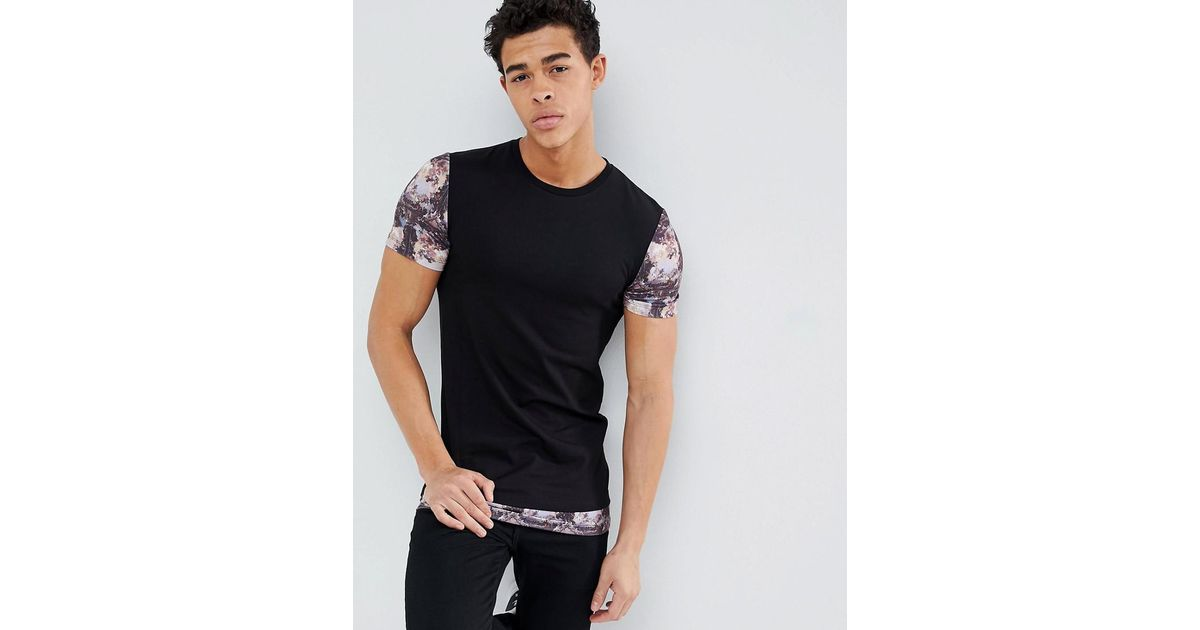 Brand New Unisex Cheap Online Discount Sale Online DESIGN longline muscle t-shirt with scene print sleeves and hem extender - Black Asos SXO656itK3
