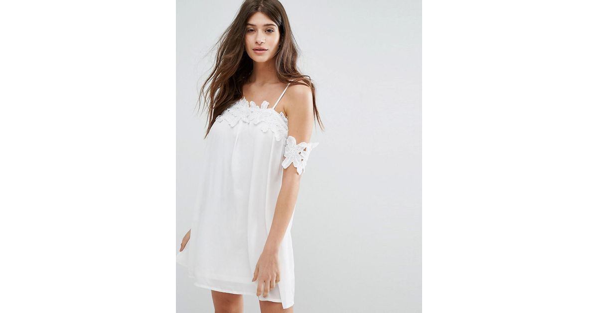 Lyst boohoo lace applique cold shoulder smock dress in white