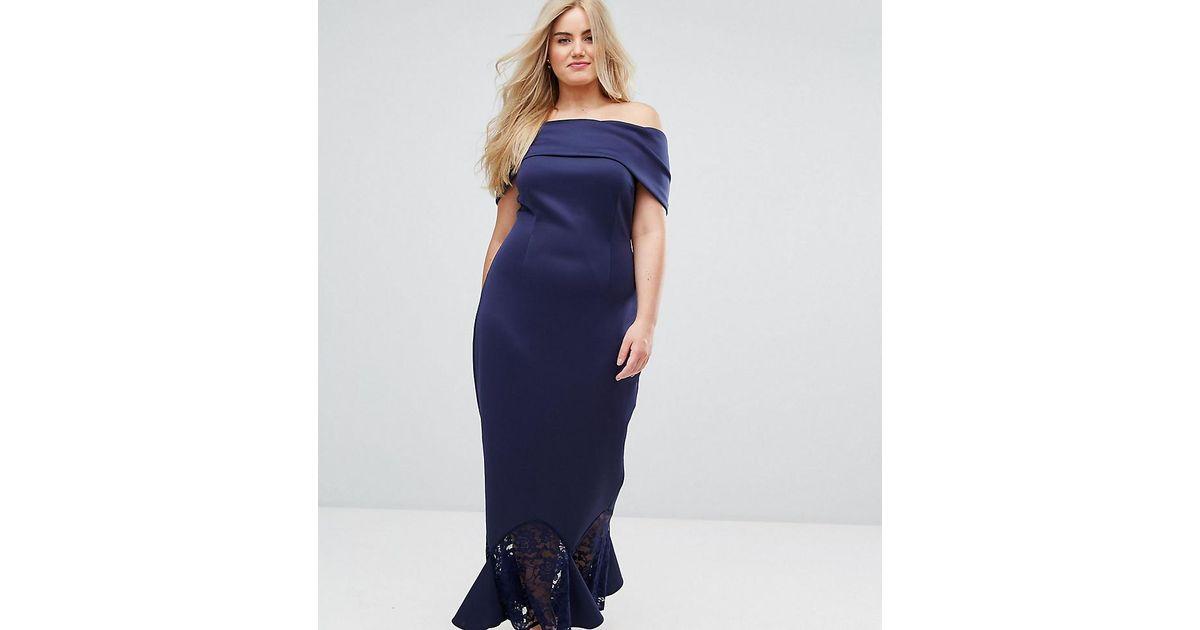 Asos Blue Scuba Bardot Lace Pephem Maxi Dress