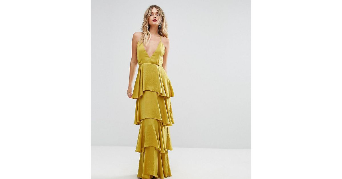 fcaed0c8978 Missguided Tiered Ruffle Maxi Dress in Yellow - Lyst