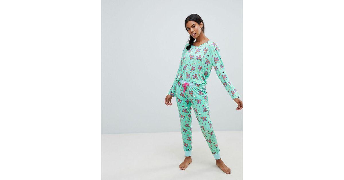 Pyjama Pinata Chelsea Peers Imprim Long En Green Coloris TlF1J3cK