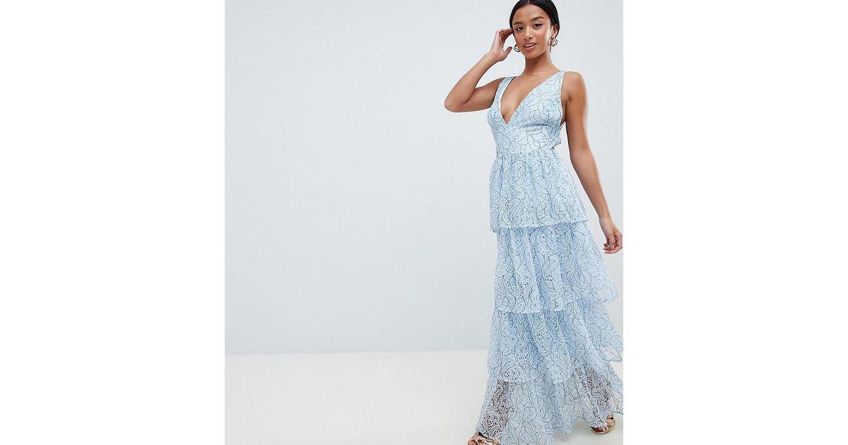 Vestido largo a capas de encaje exclusivo Missguided de color Blue