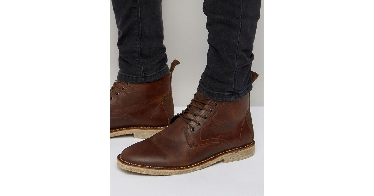 e41779ce420 ASOS Brown Desert Boots In Tan Leather With Suede Detail for men