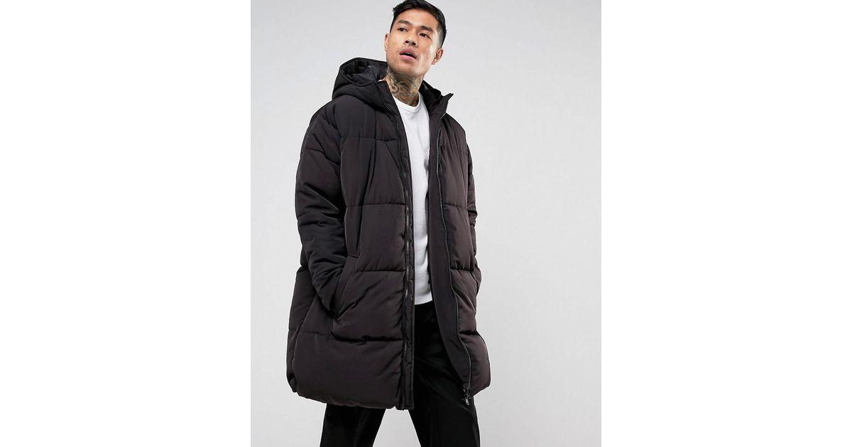 4767274b44c ASOS Asos Oversized Puffer Jacket With Hood In Black in Black for Men - Lyst