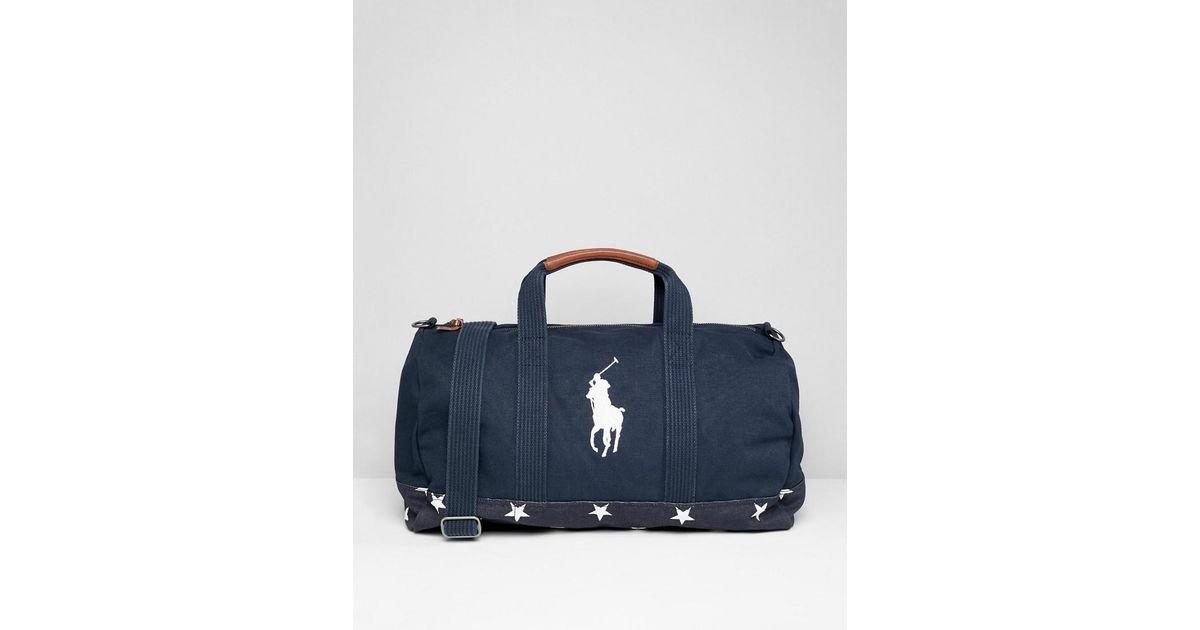 c5dac67da93e Polo Ralph Lauren Indigo Player Embroidery Star Print Canvas Duffel Bag In  Navy in Blue for Men - Lyst