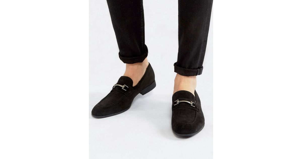 bd7a06ac ASOS Gray Loafers In Black Faux Suede With Snaffle Detail for men