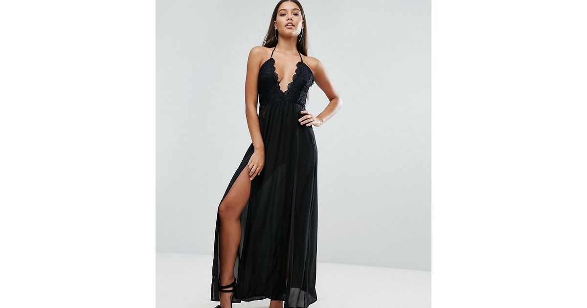 Naanaa Black Maxi Dress With Double Thigh Split And Lace Trim