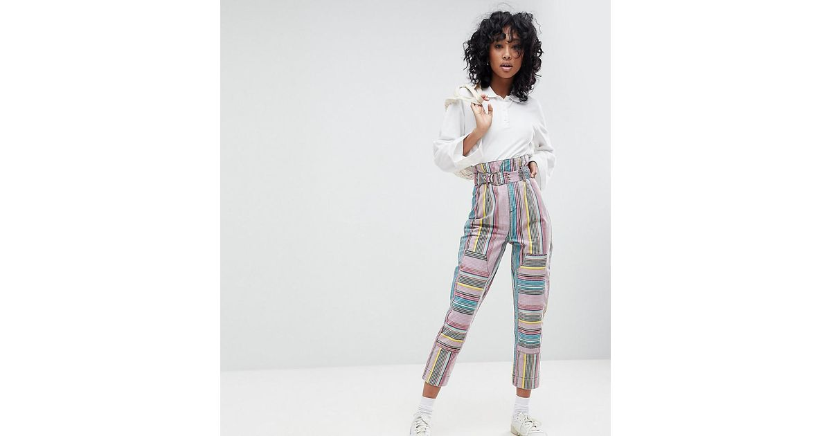 c7941b4c8bfc ASOS Asos Stevie High Waisted Peg Trousers In Stripe - Lyst