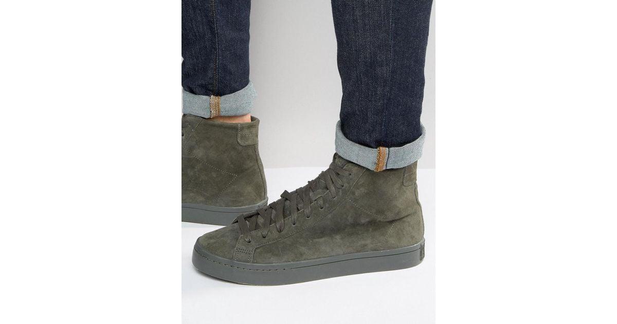 df41ba28385d Lyst - adidas Originals Court Vantage Mid Sneakers In Green Bb0158 in Gray  for Men