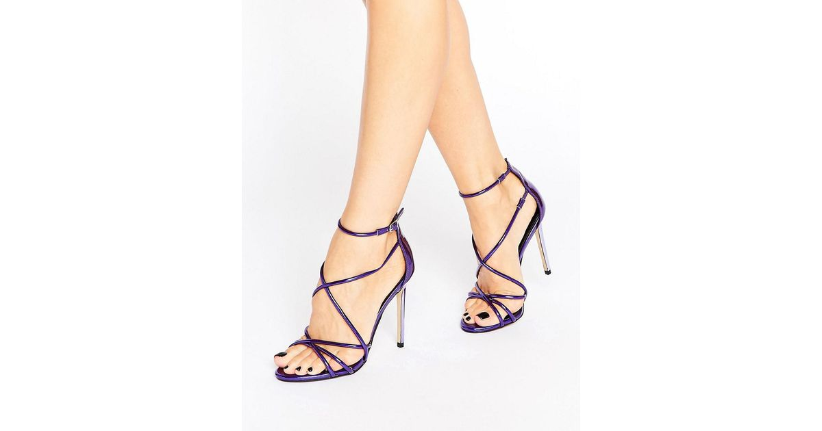 314f8574b00 Office Spindle Purple Mirror Strappy Heeled Sandals
