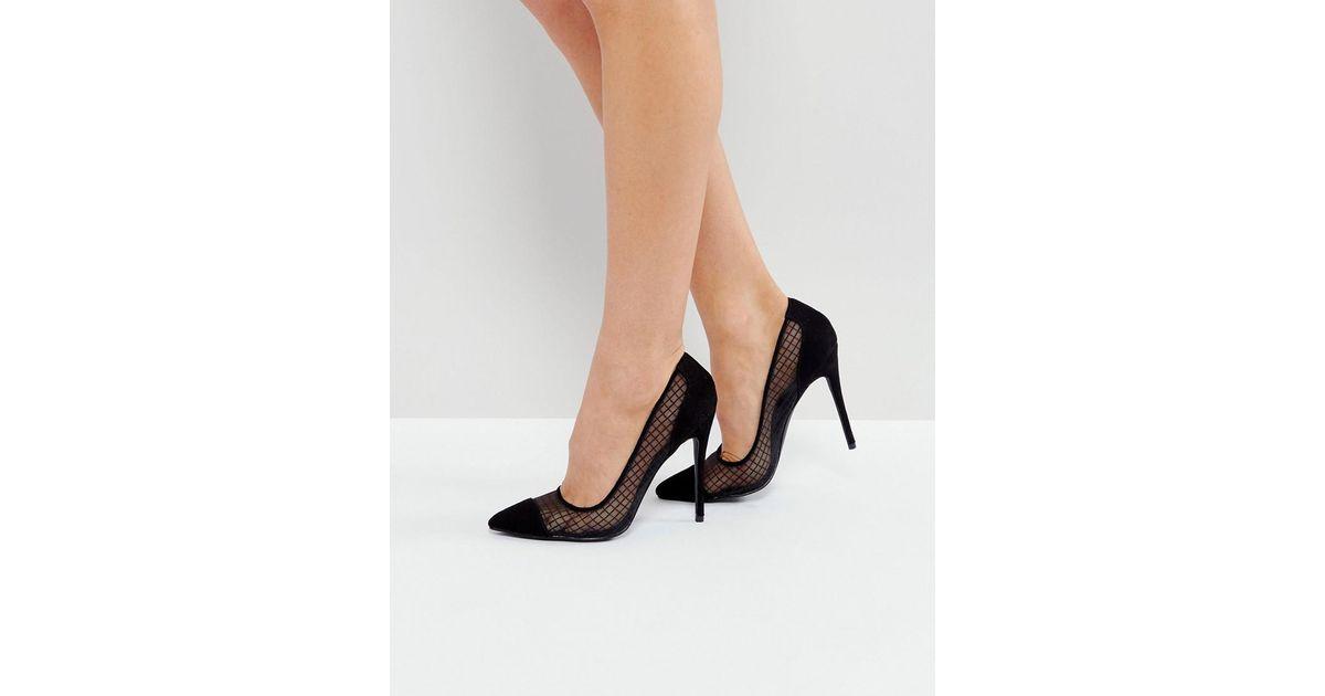 12a0dd9616f Public Desire Black Mesh Heeled Court Shoes