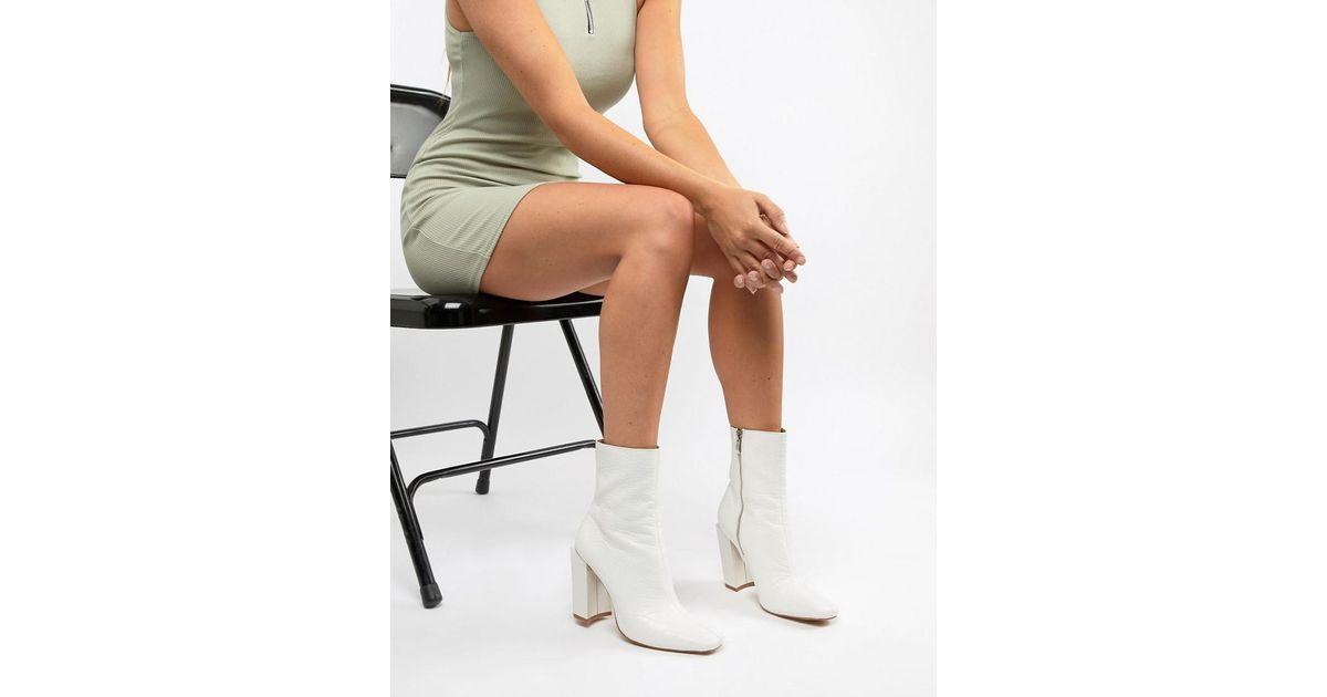 Square Toe Boot In White Faux Croc