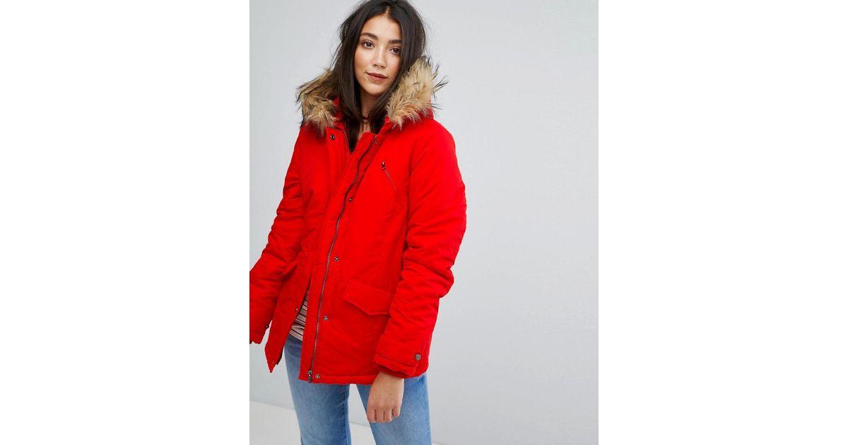 87d246cc4e8 Vila Faux Fur Parka Jacket in Red - Lyst
