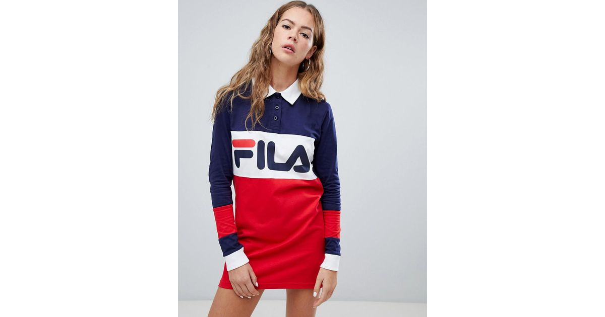 Manches Robe Longues Lyst En Style Color Fila Rugby Block ZkPwOuliXT