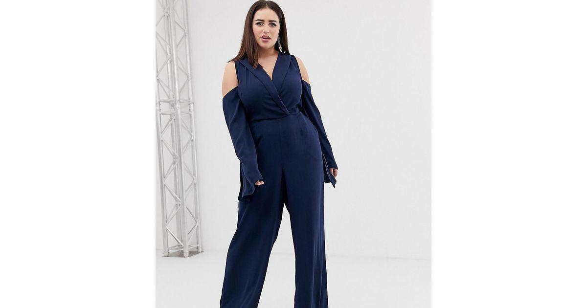 ba5b393c27e ASOS - Blue Clean Tux Cold Shoulder Tie Waist Jumpsuit - Lyst