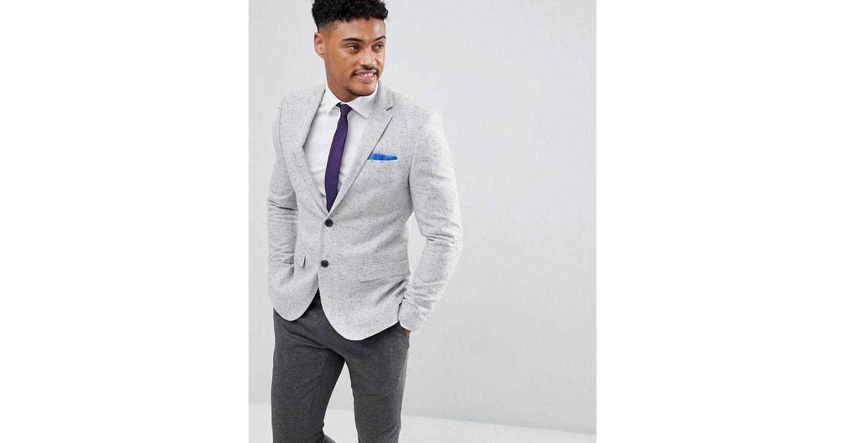 f297b56779ac6 River Island Gray Blazer In Light Grey Spec for men