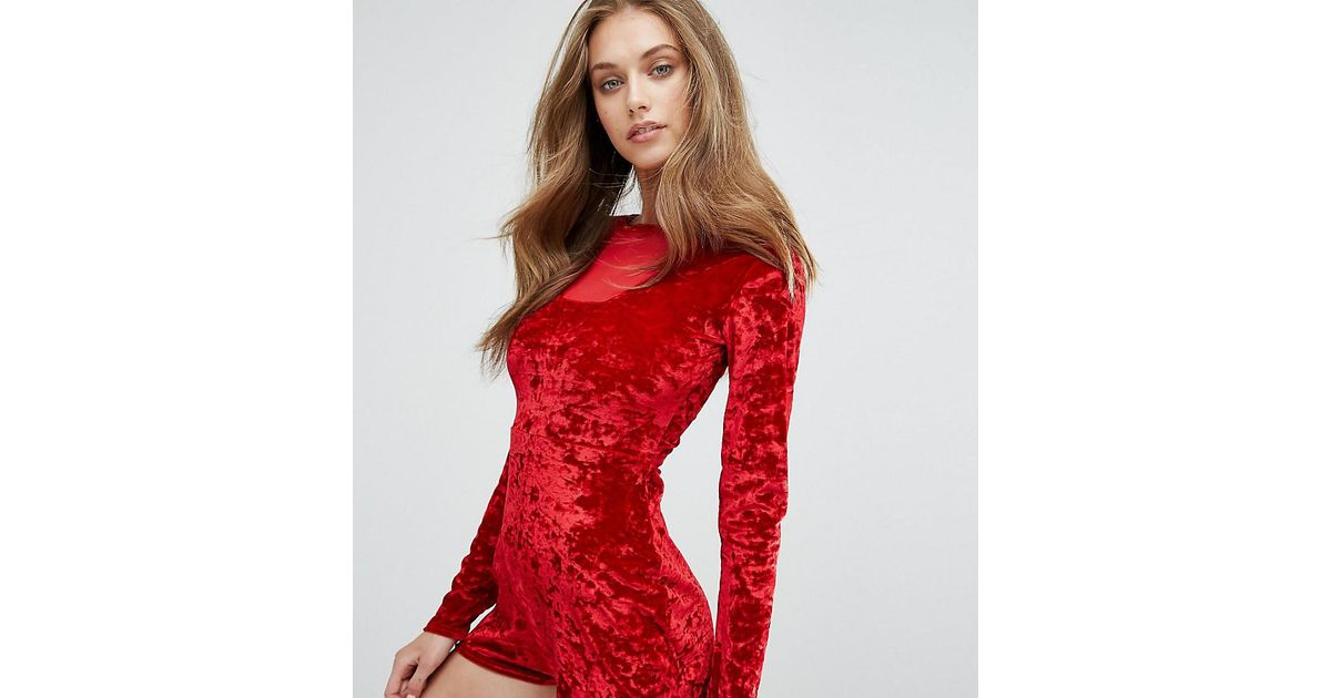f629af85e9 Missguided Mesh Insert Crushed Velvet Playsuit in Red - Lyst