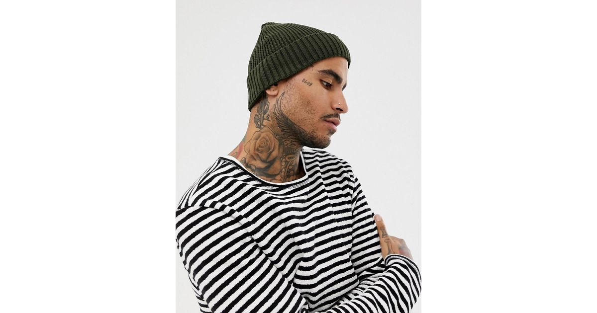 8338a8205 ASOS Green Mini Fisherman Beanie In Olive Rib Knit Recycled Polyester for  men