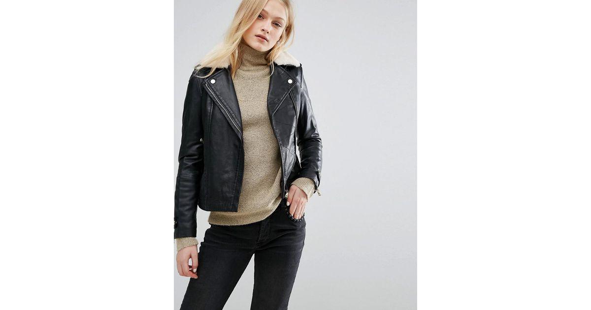 54fe7eeec Mango Black Borg Collar Leather Biker Jacket
