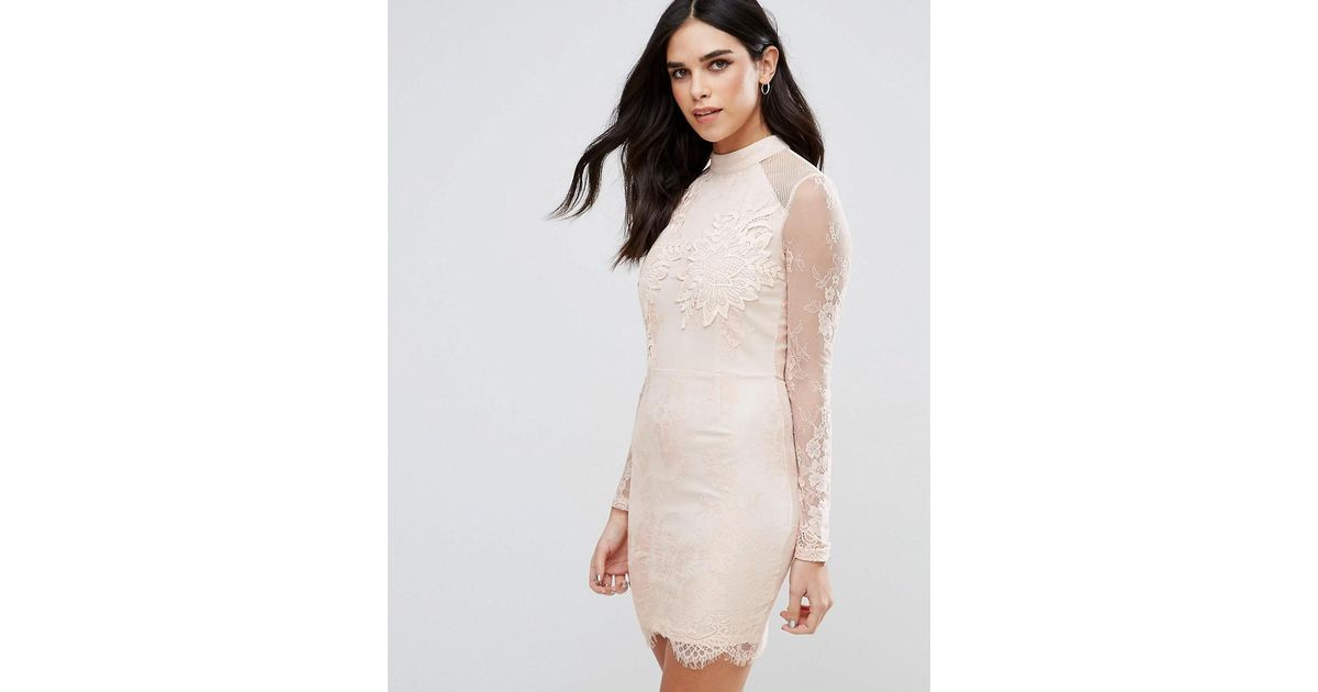 Lyst girl in mind eyelash lace applique bodycon dress in natural