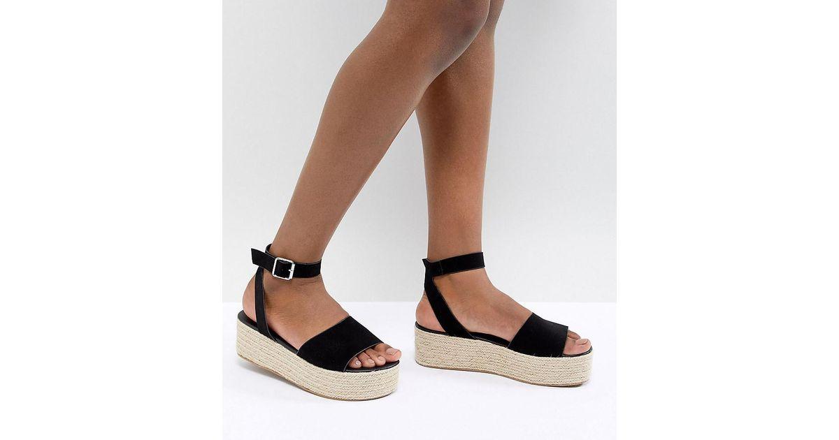 5044c9d9f5 ASOS Thear Espadrille Flatform Sandals in Black - Lyst