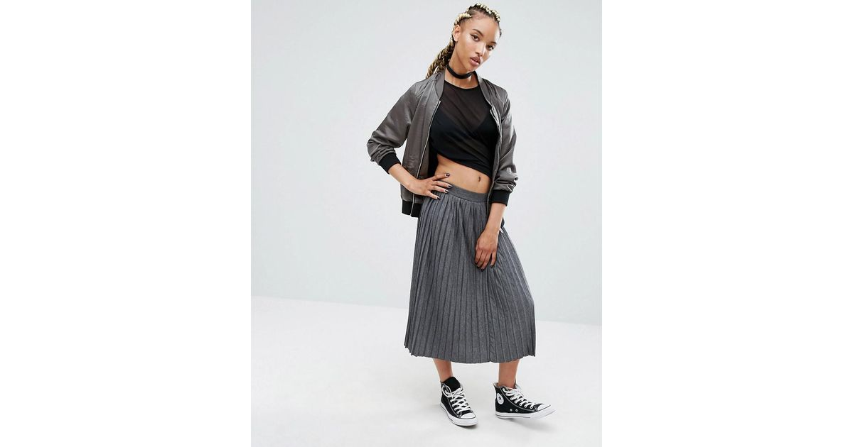 7ce30103bb30 Pull&Bear Jersey Pleated Midi Skirt In Grey in Gray - Lyst