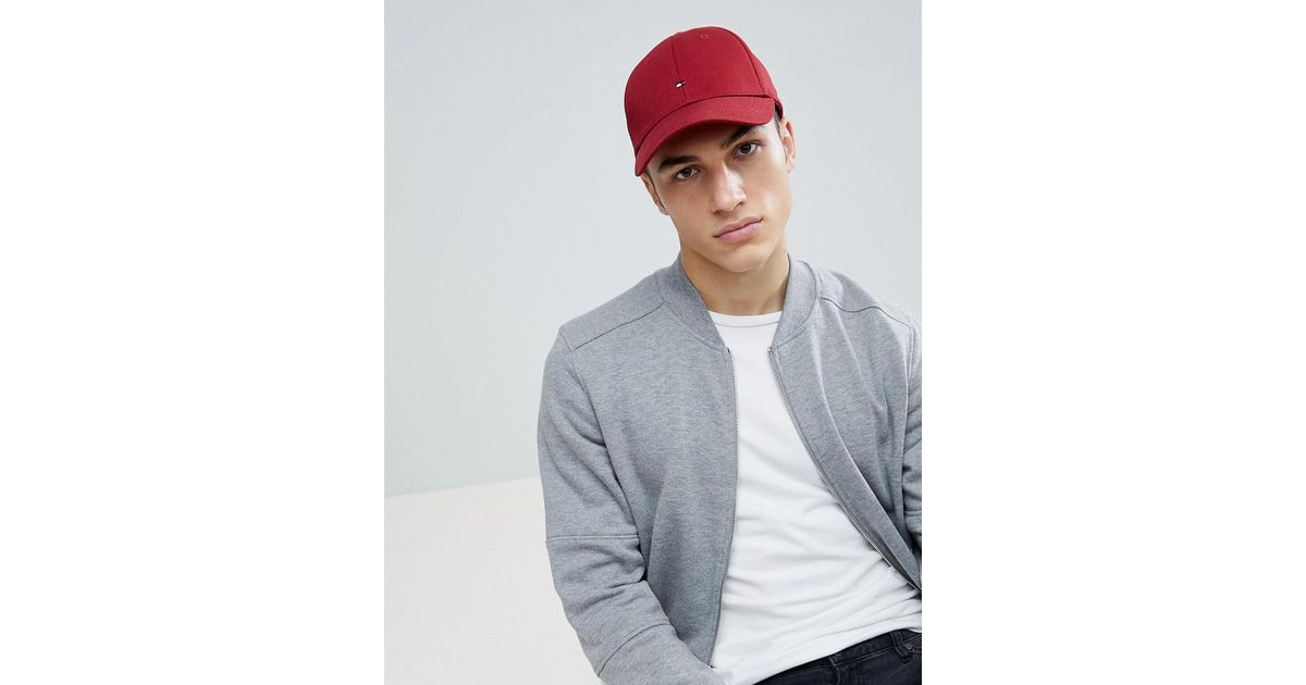 a49150d611065 Lyst - Tommy Hilfiger Classic Flag Baseball Cap Dark Red in Red for Men